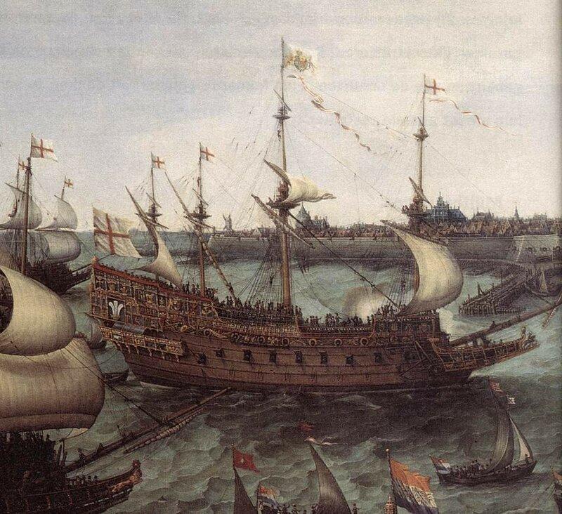 Фроом Хенрик Корнелус (1566-1640) - Появление кораблей принца Фредерика V из Пфальца и английской принцессы Элизабет Стюарт из Англии (детали)