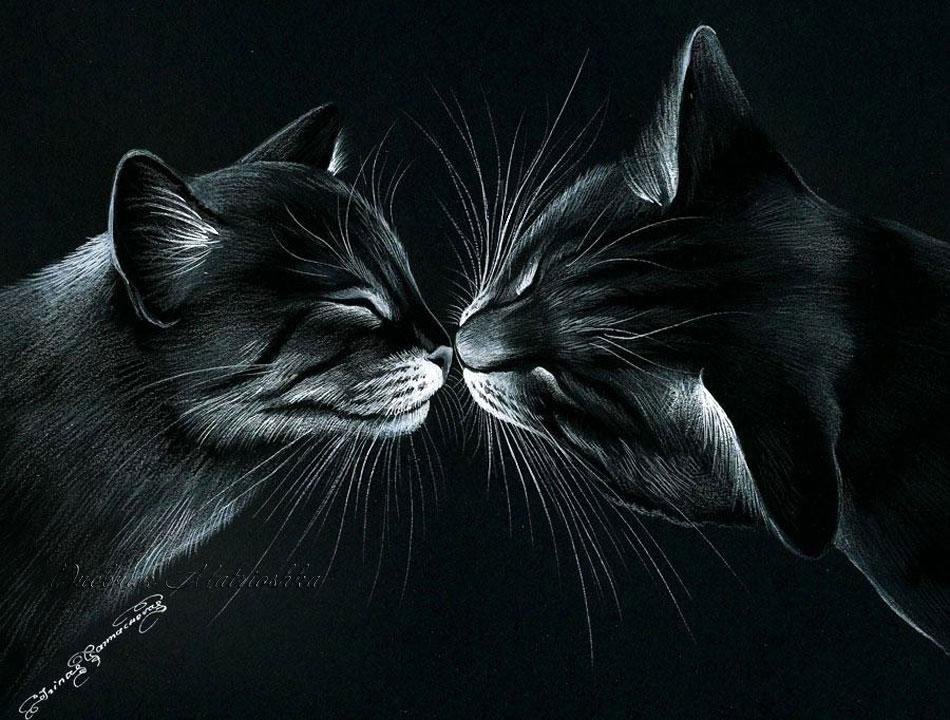 красивые рисунки котов и кошек пара делиться