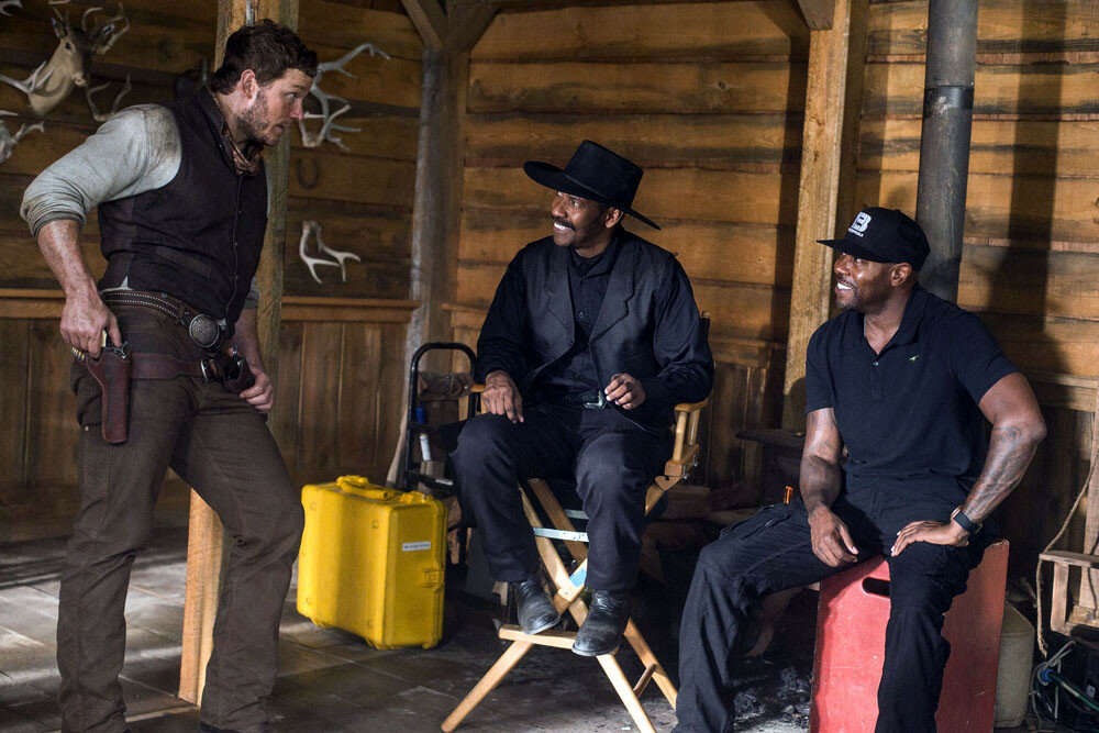Chris Pratt, Denzel Washington and Director Antoine Fuqua on the set of Columbia Pictures' THE MAGNIFICENT SEVEN.