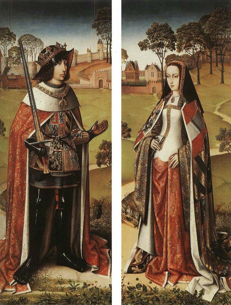 Две боковые створки алтарного триптиха, изображают Хуану и Филиппа как донаторов  Мастер легенды Св. Иосифа Ок. 1505..jpg