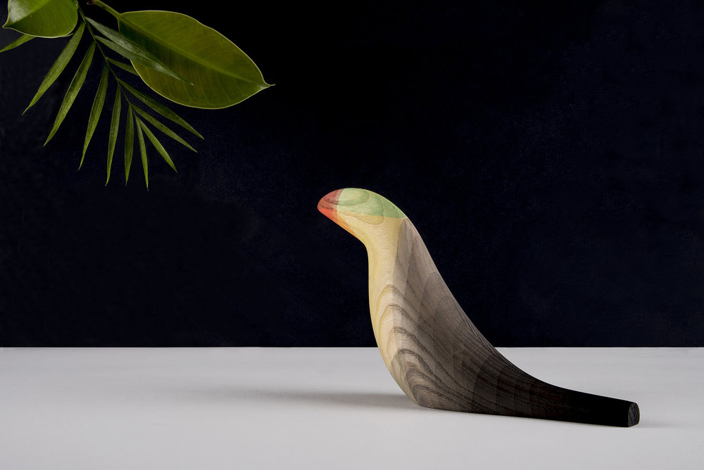 Elegant Wooden Birds Dipped in Watercolor Plumage by Moises Hernandez