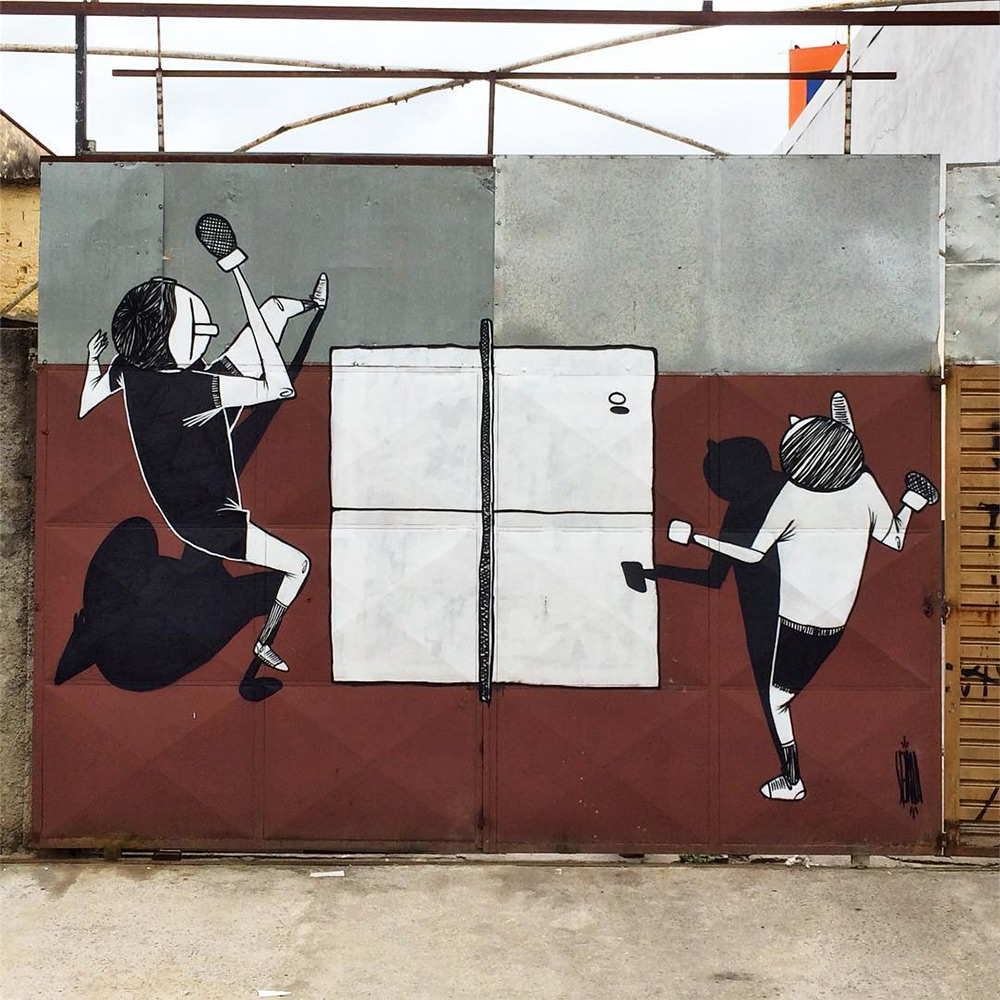 Fun Black and White Murals of Friends and Family by Alex Senna