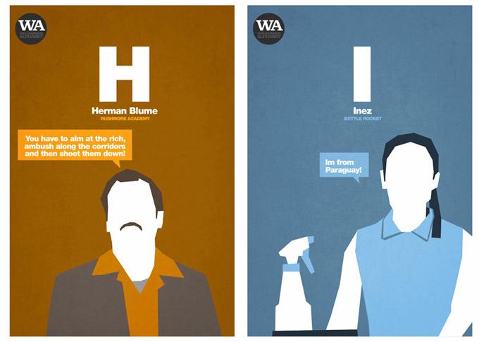 Wes Anderson Alphabet, por Hexagonall