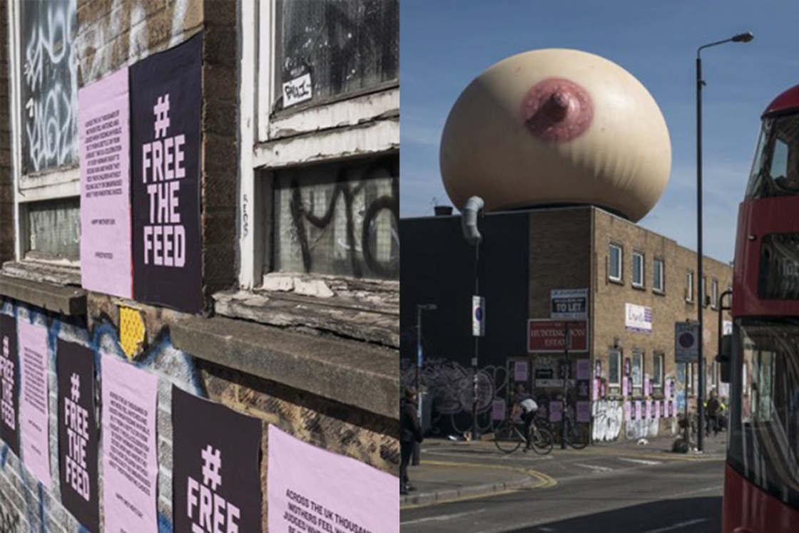 Un sein geant installe a Londres pour soutenir l'allaitement en public