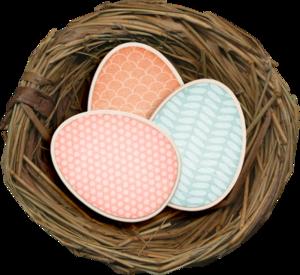 гнезда с пасхальными яйцами