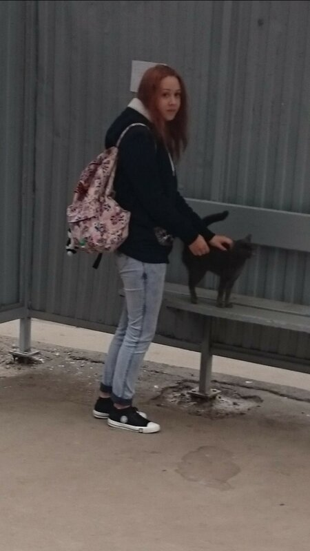Девушка гладит свою киску прямо на остановке