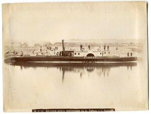 Доставка шпал пароходами по р. Тобол у г. Кургана