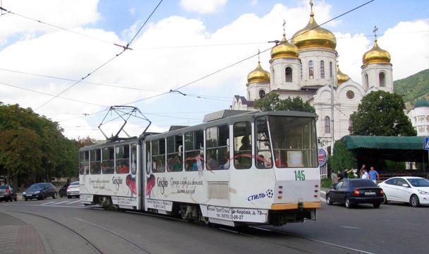 ПоПятигорску пустили трамвай сфотоэкспозицией