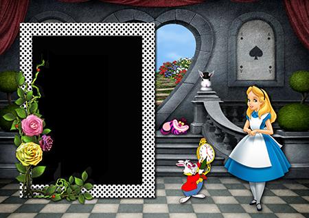 Фоторамка с Алисой, белым кроликом и чеширским котом в замке в стране чудес