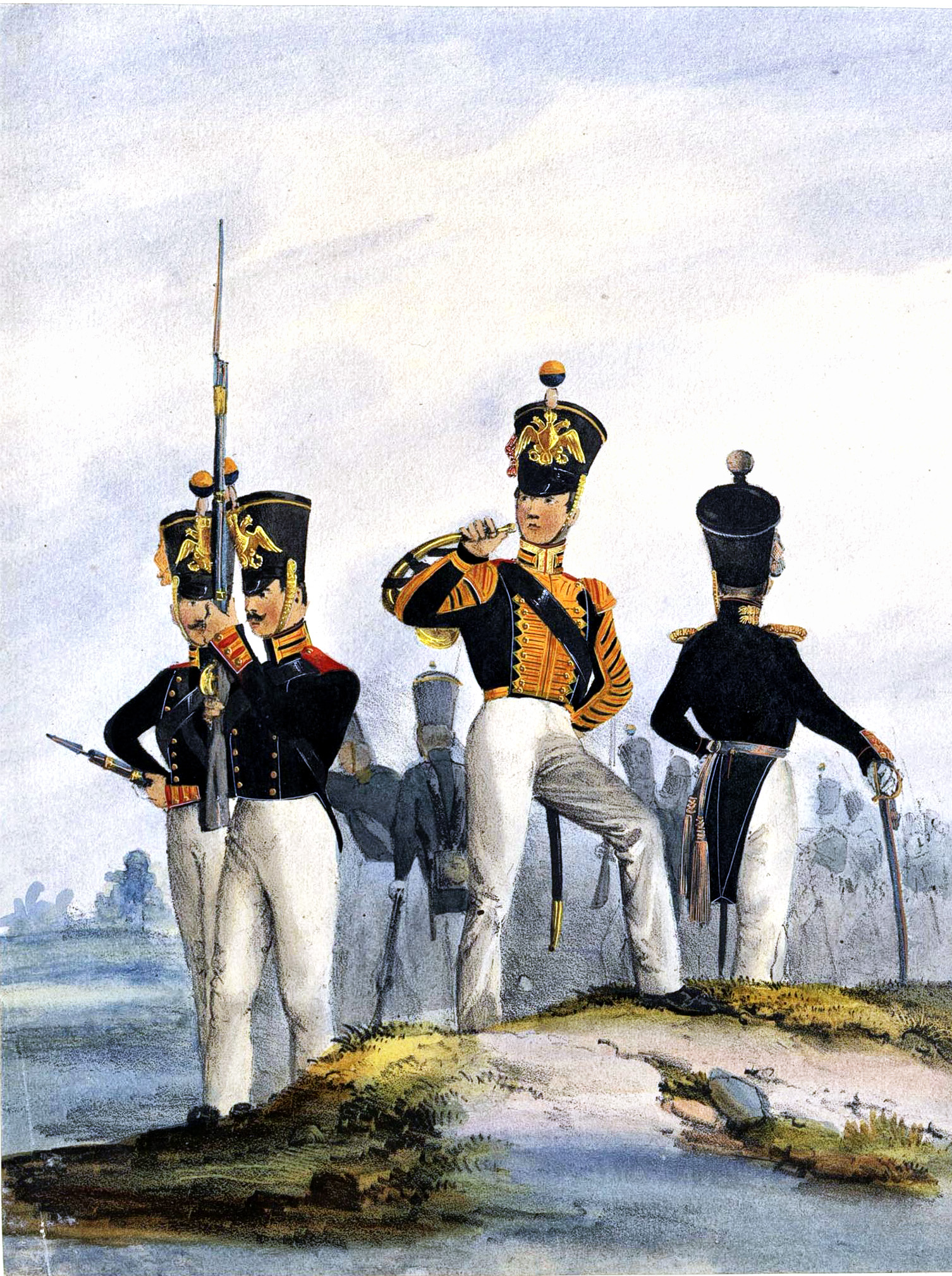 013. Kaiserthum Russland Regiment Garde-Jäger: Gemeine, Hornist, Subalternoffizier in Parade / Российская империя
