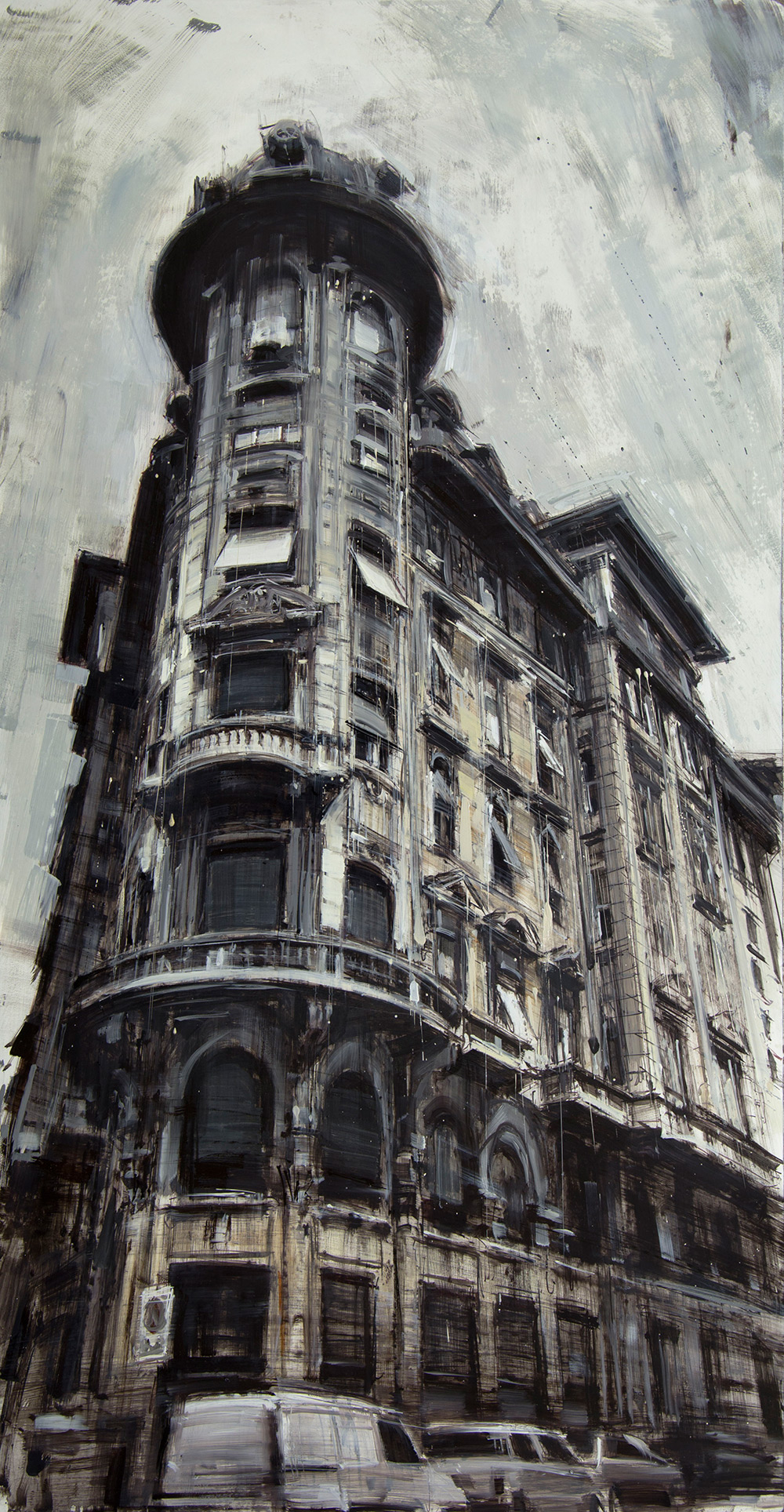 The Corner Building , 2015, oil on panel, 48x25in.