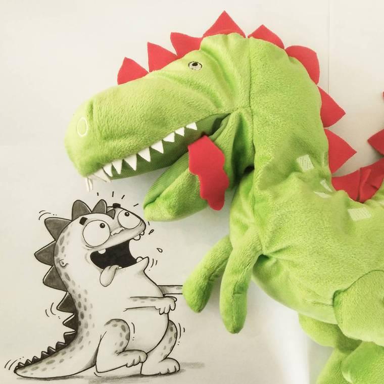 Real Life Doodles - Il dessine la vie ordinaire de son petit dinosaure
