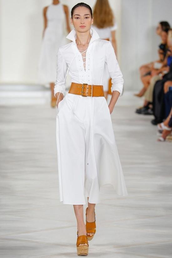 белый комбинезон со шнуровкой и укороченными брючинами Ralph Lauren