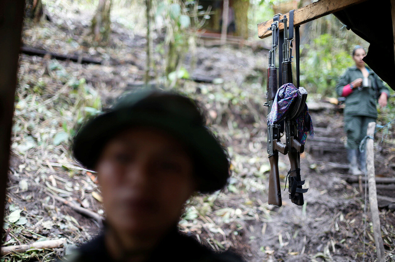 Weapons are seen at a camp of the 51st Front of the Revolutionary Armed Forces of Colombia (FARC) in Cordillera Oriental