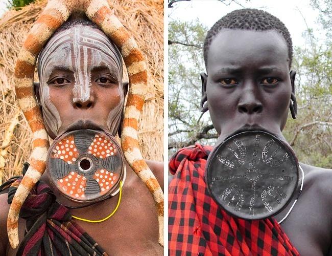 © Rod Waddington  © MauritsV  Вплемени мурси (Эфиопия) девушки растягивают губы специал