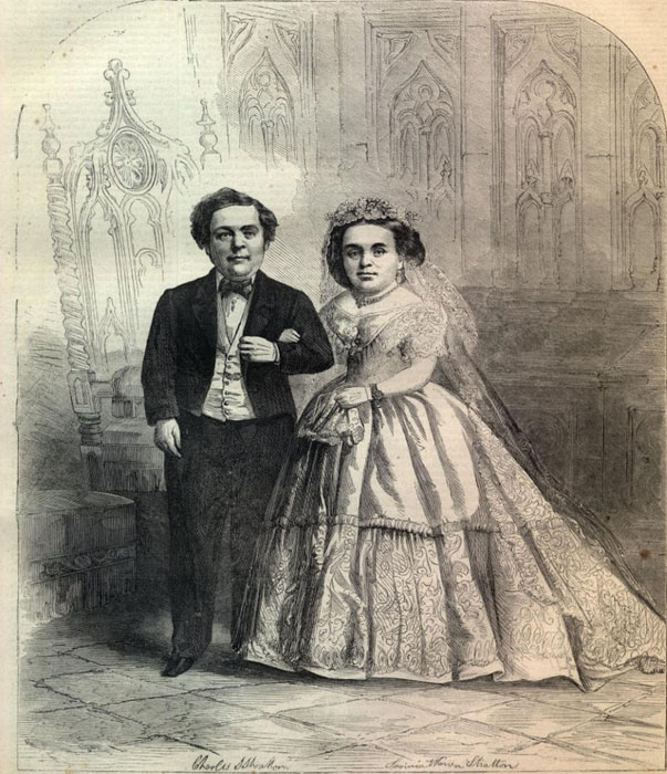 Новобрачные на обложке журнала Харперс Викли 21 февраля 1863г.  Мальчик стал популярен на вс