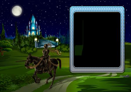 Рамка с едущим по дороге у старинного замка рыцарем на коне ночью