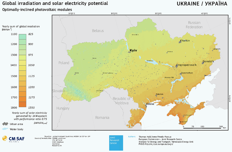 European Comission: Потенциал солнечной энергетики Украины
