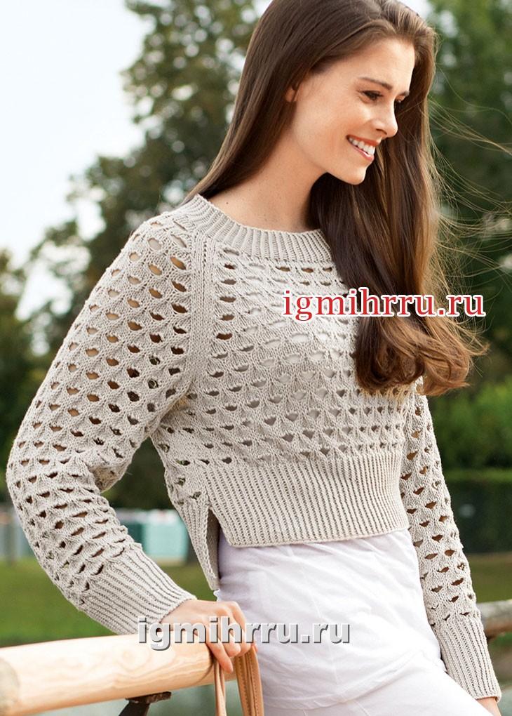 Легкий ажурный пуловер песочного цвета. Вязание спицами