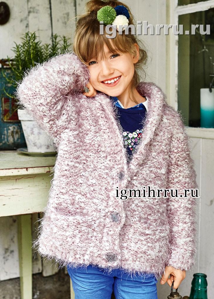 Для девочки 4-10 лет. Пушистый бело-розовый жакет с карманами. Вязание спицами