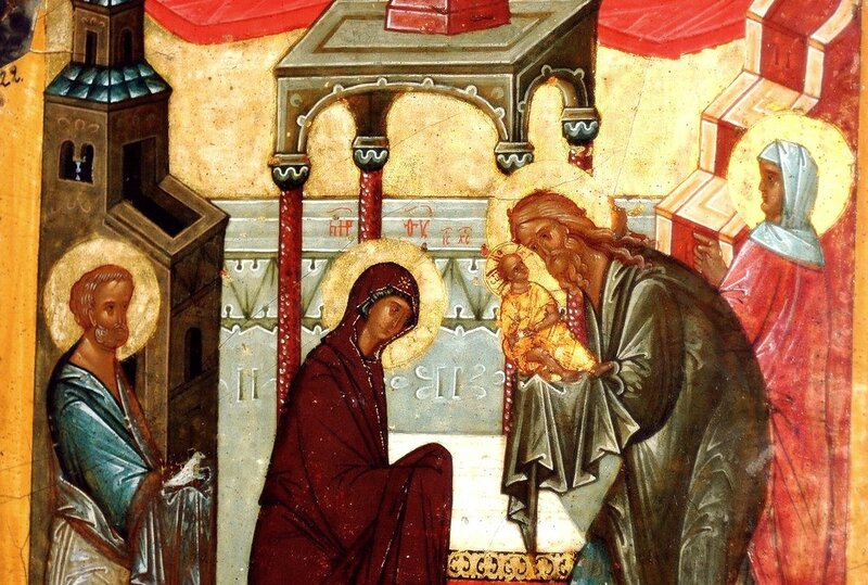 Сретение Господне. Икона. Новгород, конец XV века. Фрагмент.