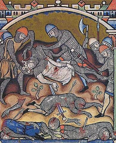Ritter streifen einem Verwundeten die Kettenrьstung ab (Szene aus der Kreuzfahrerbibel)