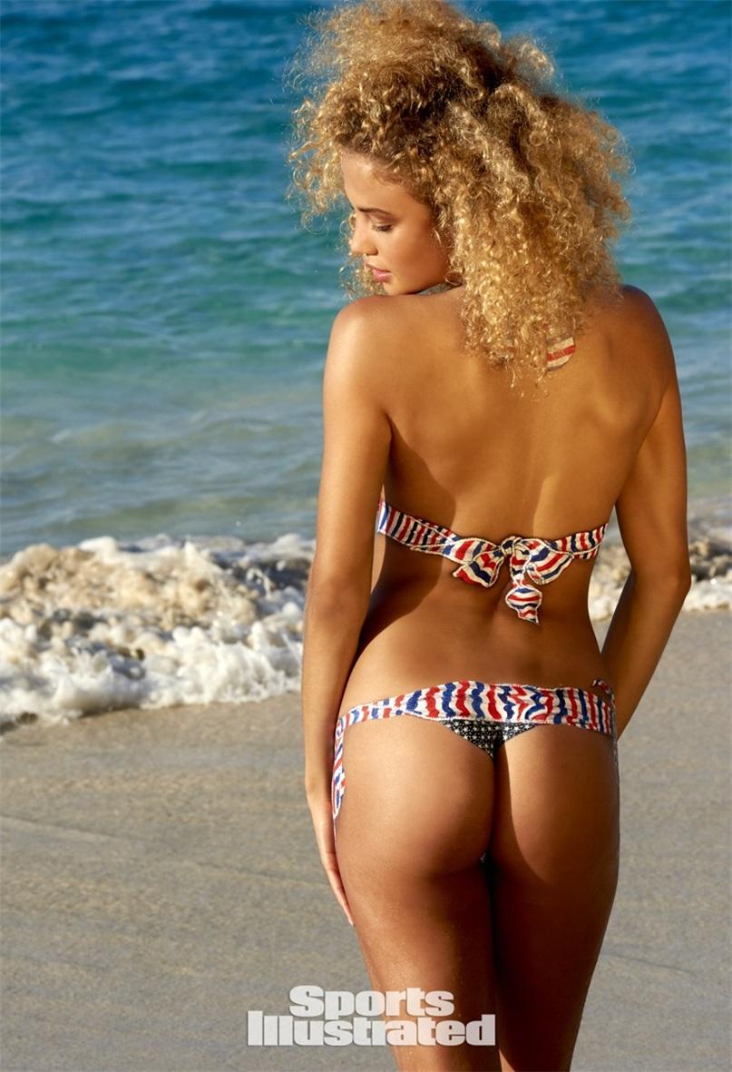 нарисованный купальник на теле Роуз Бертрам - боди-арт - Sports Illustrated Swimsuit 2015 - Rose Bertram by Yu Tsai in St. John, US Virgin Islands / body-paint