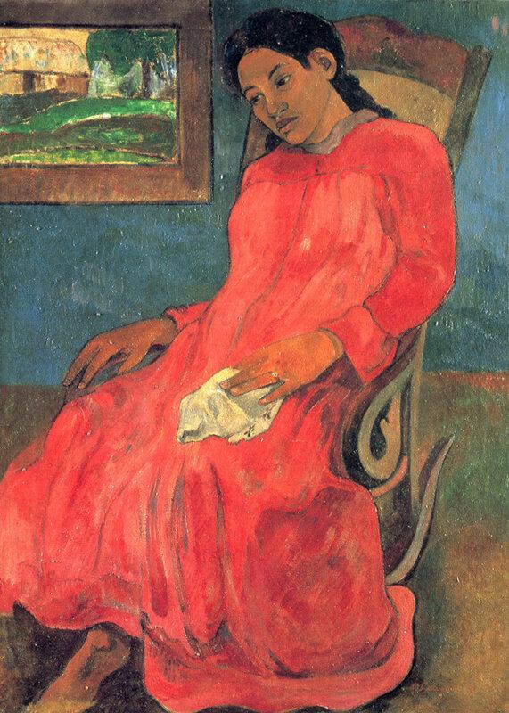 Гоген (Gauguin) Поль : Женщина в красном