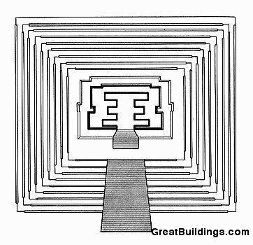Храм 1, план, Тикаль