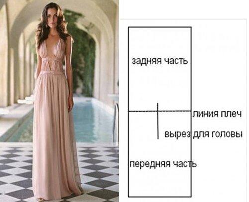 Как сшить длинное платье без рукавов 442