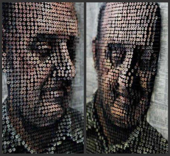 Портреты из вкрученных в стену шурупов
