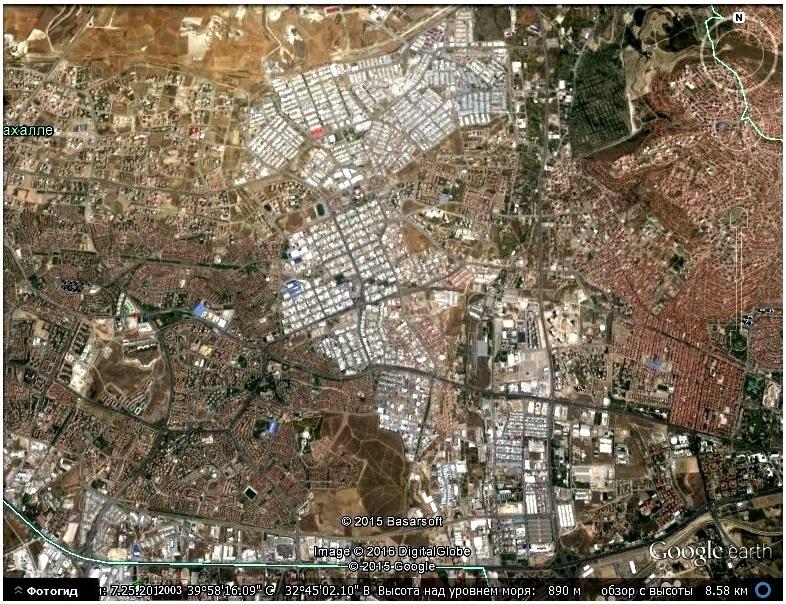 Урбаноглиф части Анкары с высоты в 8,5 км