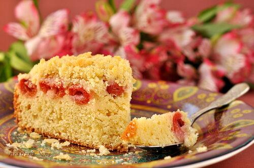 Вишнёвый пирог с крошкой (кусочек)