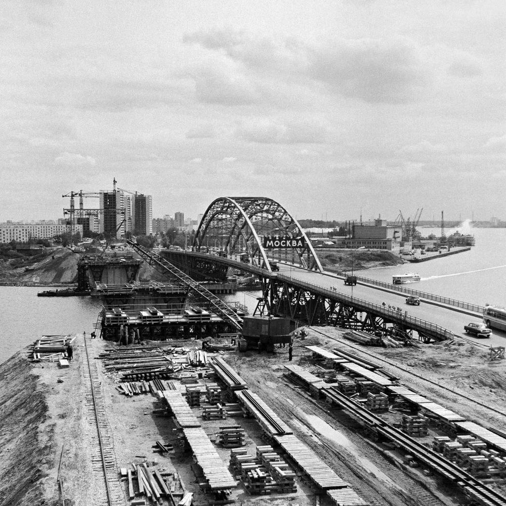 1968. Строительство моста на Ленинградском шоссе
