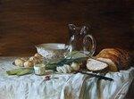 Панцырев Юрий Николаевич > Натюрморт с хлебом и молодой картошкой.