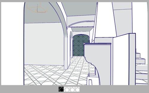 Гостиная, камин, коридор, лестница на второй этаж, арка эллипс, эркер 28 42
