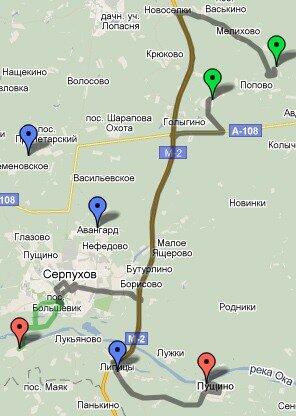 Черная линия - маршрут поездки