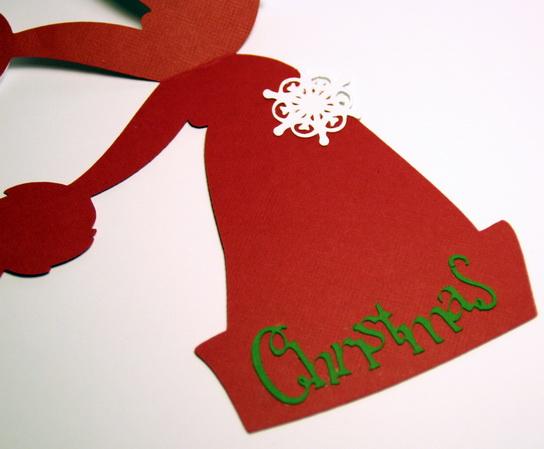 Новогодняя открытка в форме шапки Деда Мороза