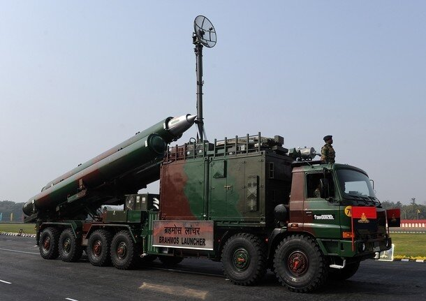 An Indian Army Brahmos missiles and laun