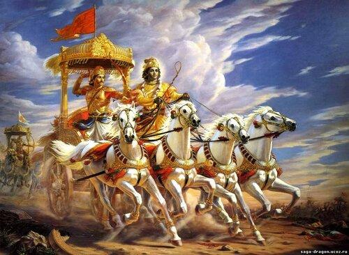 Бхагавад-Гита. Кришна и Арджуна на поле битвы Курукшетра