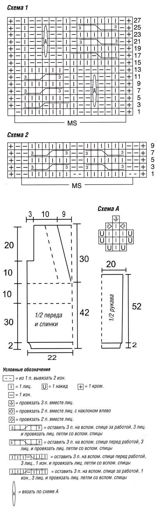 Пуловер с глубоким v-образным вырезом схема