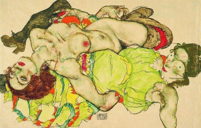 Egon Schiele, Two girls lying entwined, 1915,