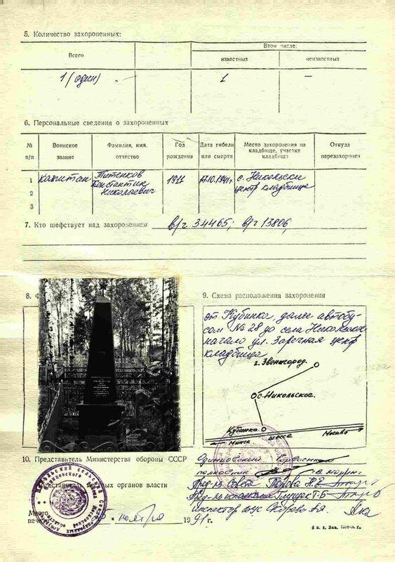 Учетная карточка захоронения капитана Титенкова К.Н.