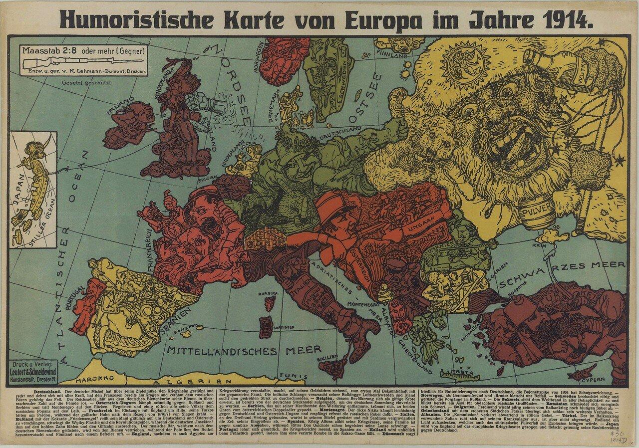 1914. «Юмористическая карта Европы в 1914 году», Дрезден