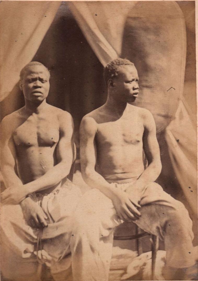 1888. Мужчины народности динка с правого берега Верхнего Нила. Судан