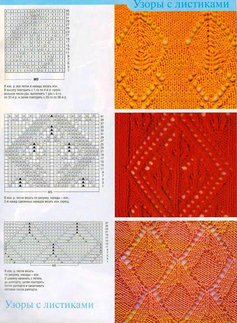 Узоры листочки для вязания