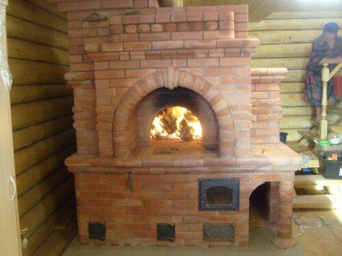 печь русская с камином фото