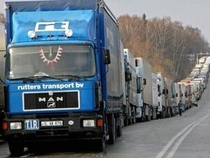 """Около 90 грузовиков скопились у пункта пропуска """"Пограничный"""""""