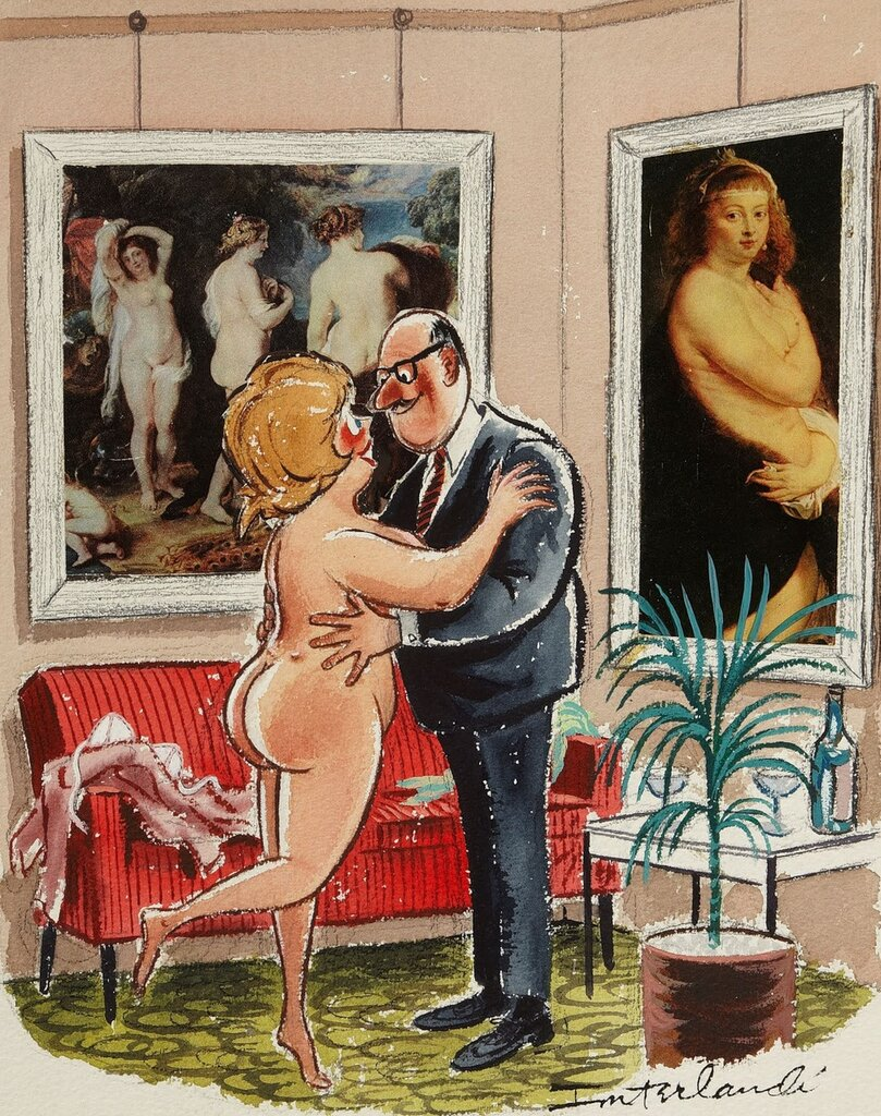 PHIL INTERLANDI (American, 1924-2002). Playboy cartoon illustration, 1966