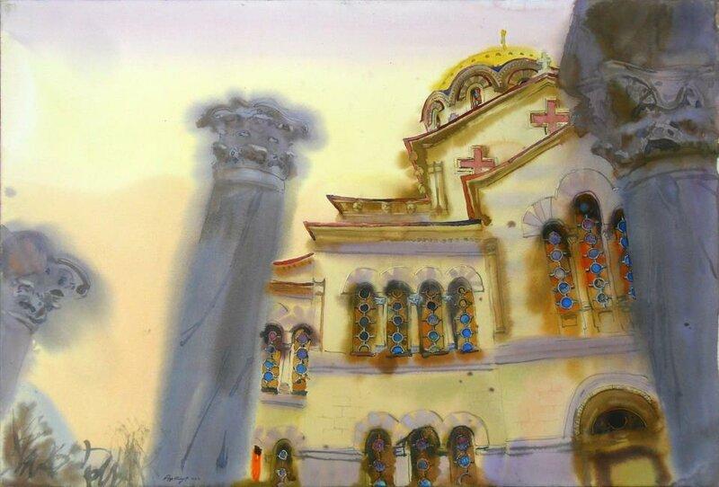 Владимирский храм с колонами Херсонеса. Из серии Херсрнеский пилигрим, 2012.
